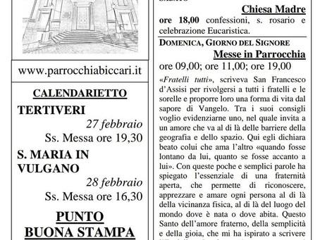 Foglietto settimanale parrocchiale 21 Febbraio 2021