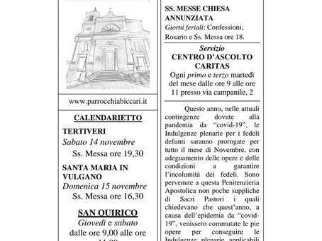 Foglietto settimanale parrocchiale 8 Novembre 2020