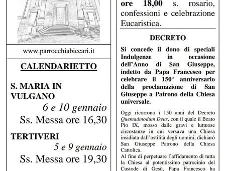Foglietto settimanale parrocchiale 3 Gennaio 2021