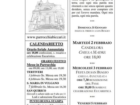Foglietto settimanale parrocchiale 31 Gennaio 2021