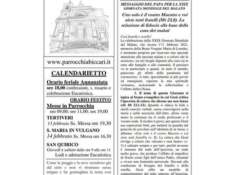 Foglietto settimanale parrocchiale 7 Febbraio 2021