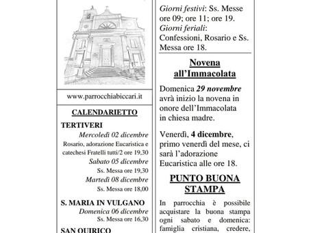 Foglietto settimanale parrocchiale 29 Novembre 2020