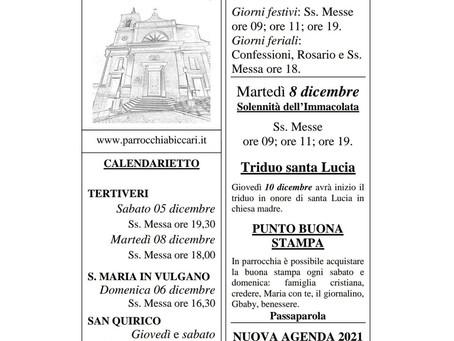 Foglietto settimanale parrocchiale 6 Dicembre 2020