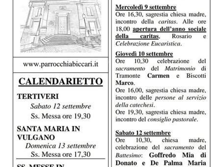 Foglietto settimanale parrocchiale 6 Settembre 2020