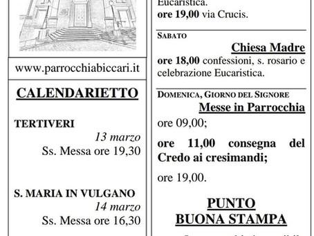 Foglietto settimanale parrocchiale 7 Marzo 2021