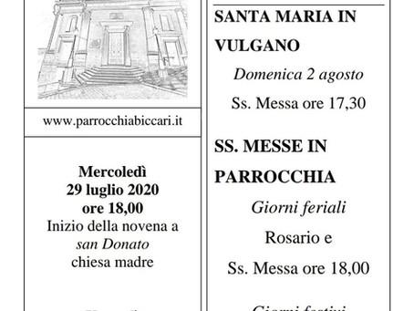 Foglietto settimanale parrocchiale 26 Luglio 2020