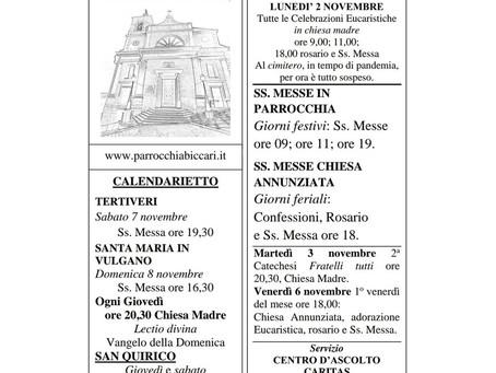 Foglietto settimanale parrocchiale 1 Novembre 2020