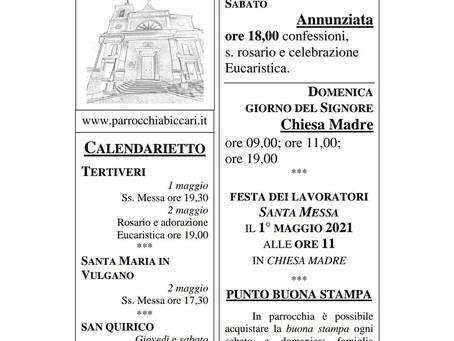 Foglietto settimanale parrocchiale 25 Aprile 2021