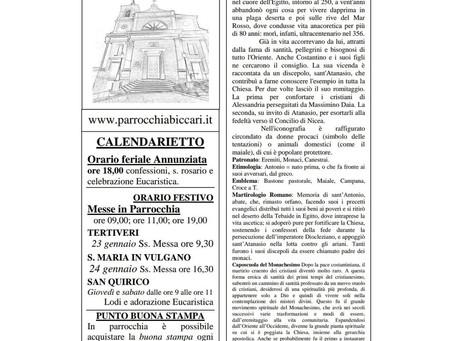 Foglietto settimanale parrocchiale 17 Gennaio 2021