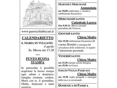 Foglietto settimanale parrocchiale 28 Marzo 2021