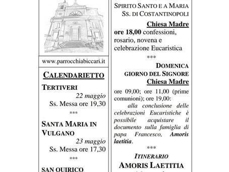 Foglietto settimanale parrocchiale 16 Maggio 2021