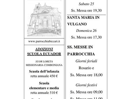 Foglietto settimanale parrocchiale 19 Luglio 2020