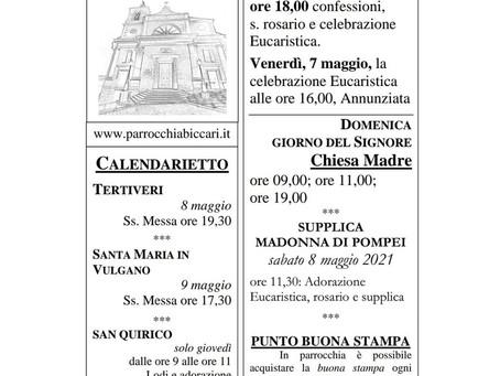Foglietto settimanale parrocchiale 2 Maggio 2021