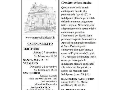 Foglietto settimanale parrocchiale 15 Novembre 2020