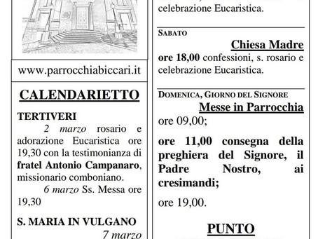 Foglietto settimanale parrocchiale 28 Febbraio 2021