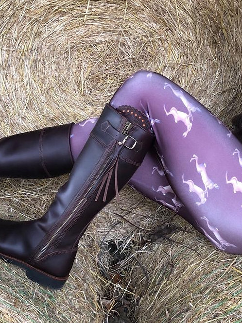 Mad March Boxing Hares Leggings Brown (Satin Finish)