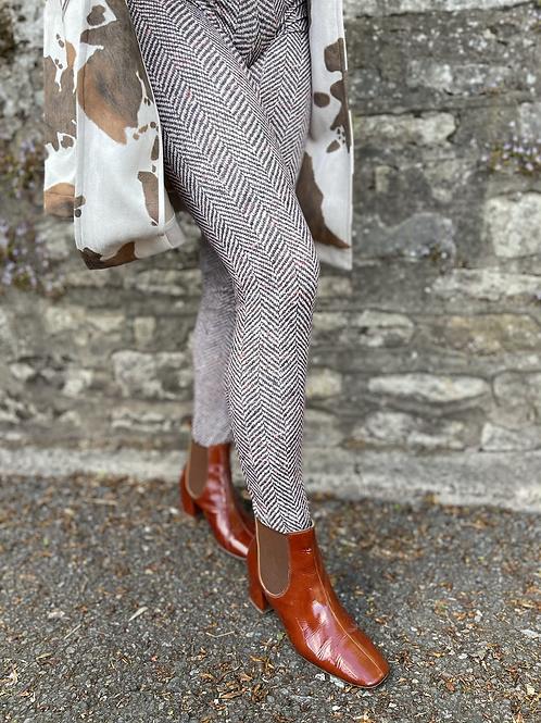 Brown Oat Herringbone Tweed Leggings (Matt Finish)