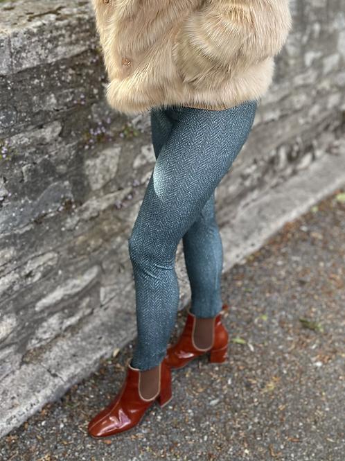 Green Shetland Tweed Leggings (Matt Finish)