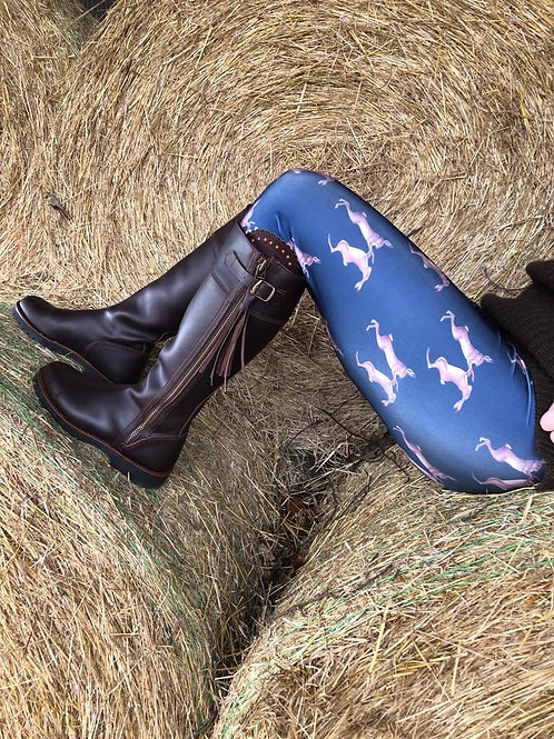 Mad March Boxing Hares Leggings Royal Blue (Satin Finish)