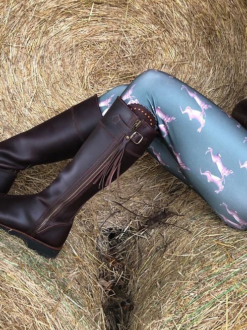Mad March Boxing Hares Leggings Olive Green (Satin Finish)