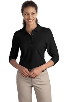 L562  Ladies Silk Touch 3/4-Sleeve Polo
