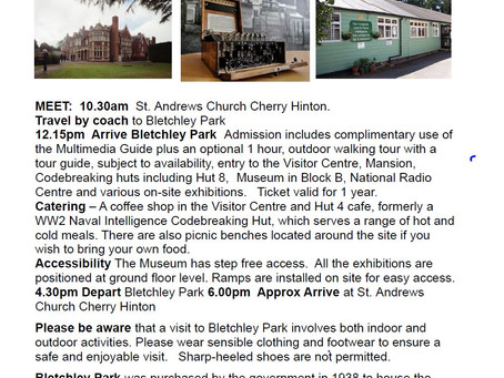 Cherry Hinton Local History Society Excursion to Bletchley Park Wednesday 16th October 2019