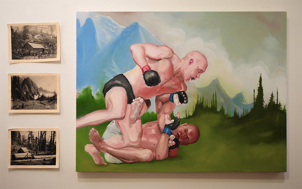 Sasha Phipps a French-Canadian artist creates a painting 'historic document' of GSP VS Penn fighting in 'la valee des hommes forts'