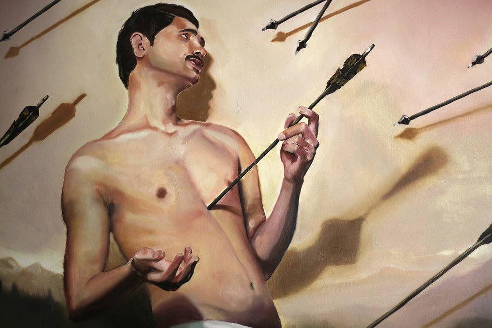 Sasha Phipps French-Canadian visual artist, painting, L'homme a la ceinture flechee, Saint-Sebastien with boreal forest background