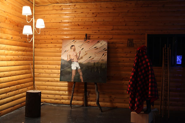 Sasha Phipps and Guillaume Boudrias-Plouffe visual arts installatio at the sugar shack, museoparc Vanier, Ottawa, French-Canadian art