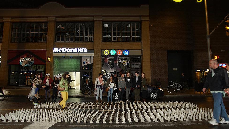 David McDougall Sasha Phipps at Nuit Blanche Ottawa + Gatineau, 750 concrete pylons artwork