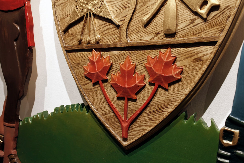 Sasha Phipps, Visual Artsit, Invented Coat of Arms for the French-Canadian strong man