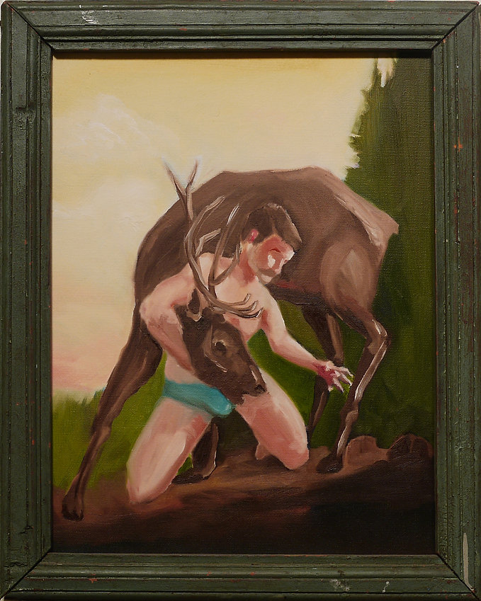 Sasha Phipps a French-Canadian artist creates 'historical' paintings of heroic figure, Marc-Charles, taking down a stag in the forests of Otter-Lake in the Pontiac region, Quebec