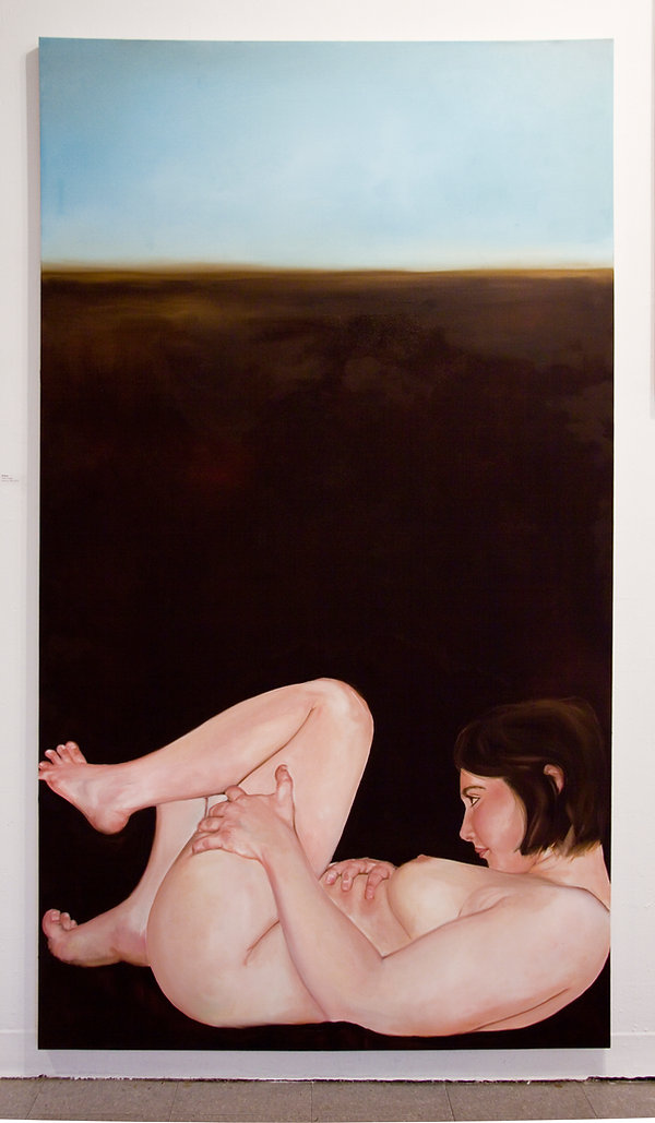 Sasha Phipps a French-Canadian artist creates oil paintings of nude bodies 'constrained in their frames'
