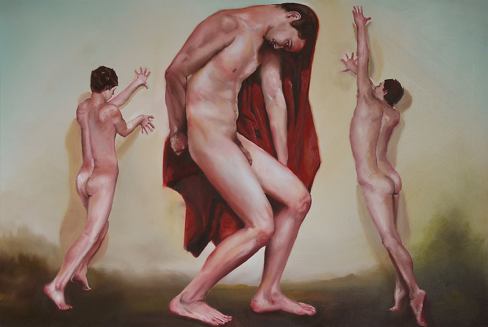 Sasha Phipps French-Canadian visual artist, painting, nude self-portrait body x 3