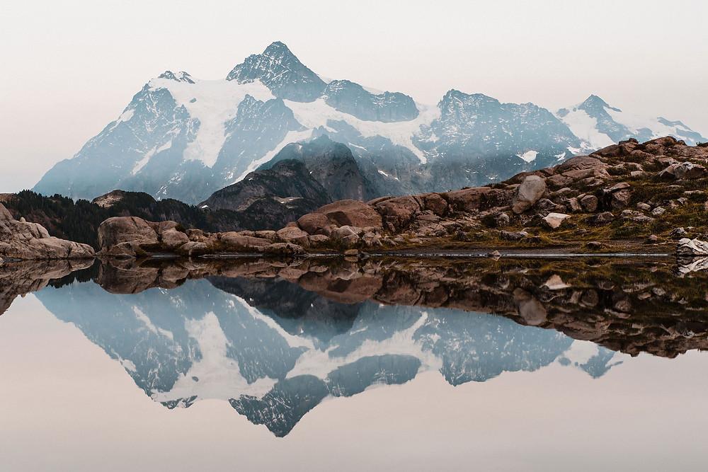Mount Shuskan reflecting in a tarn at Artist Point near Mount Baker in Washington. A perfect elopement destination!