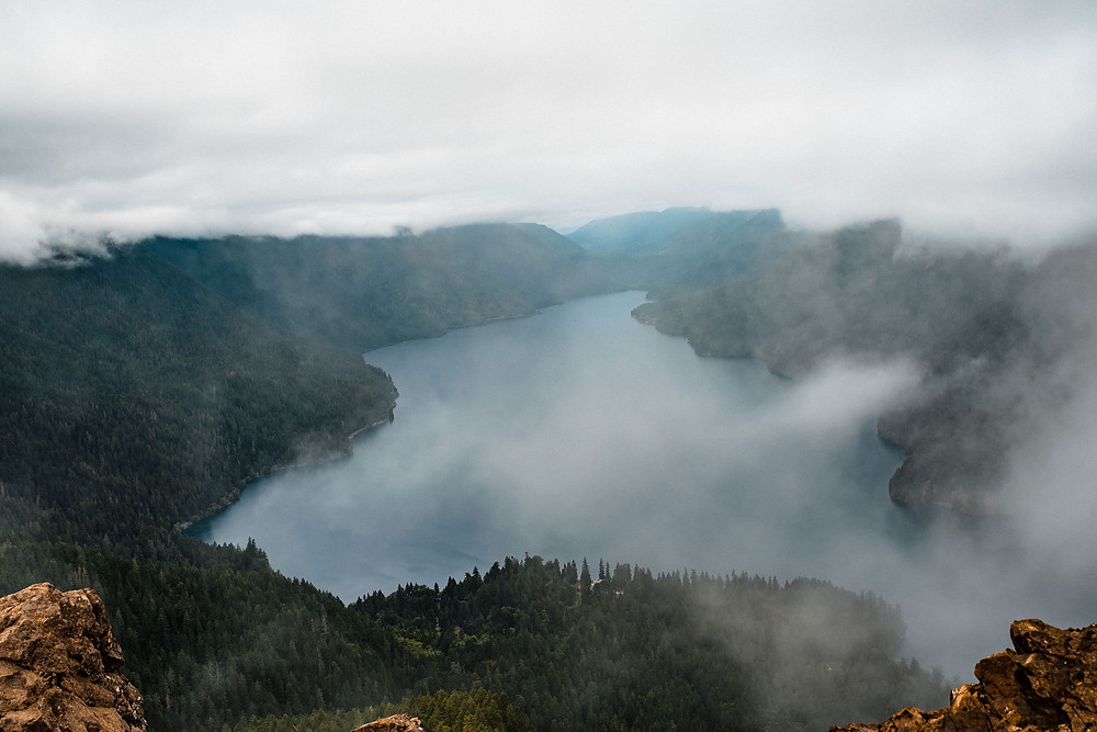 Mount Storm King and Lake Crescent in Olympic National Park