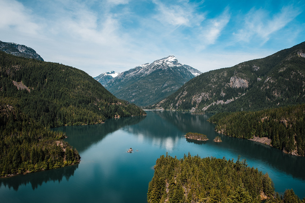 The view of Diablo Lake as seen from the Diablo Lake Overlook on a stunning, sunny day