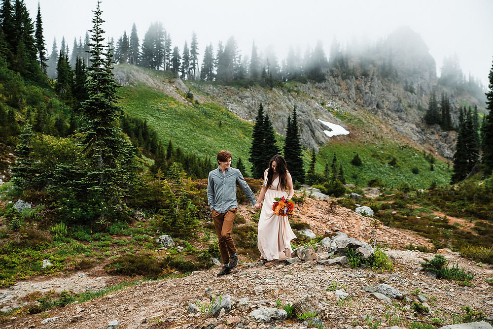 A bride and groom during their Mount Rainier Elopement