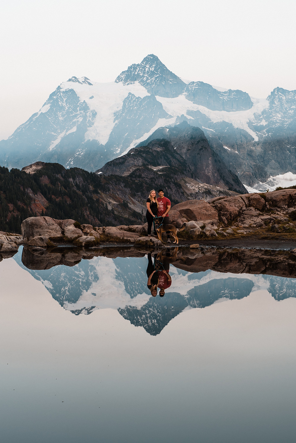 A couple and their reflections at Artist Point in Washington