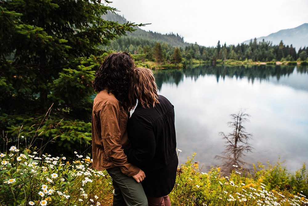 A couple during their Gold Creek Pond engagement photos