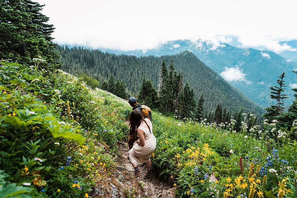 A couple hiking in Mount Rainier National Park during their elopement