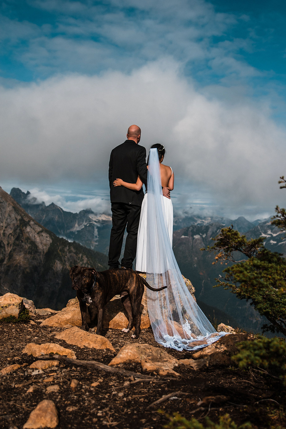A couple enjoying the view of the mountain ranges in the Mount Baker Wilderness during their elopement day