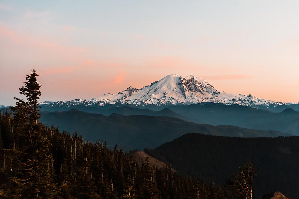 Mount Rainier at sunset at Mount Rainier National Park