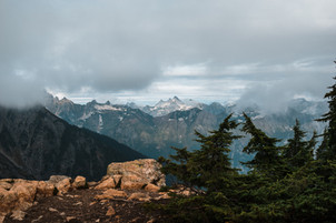 A stunning mountain range in the North Cascades National Park in Washington