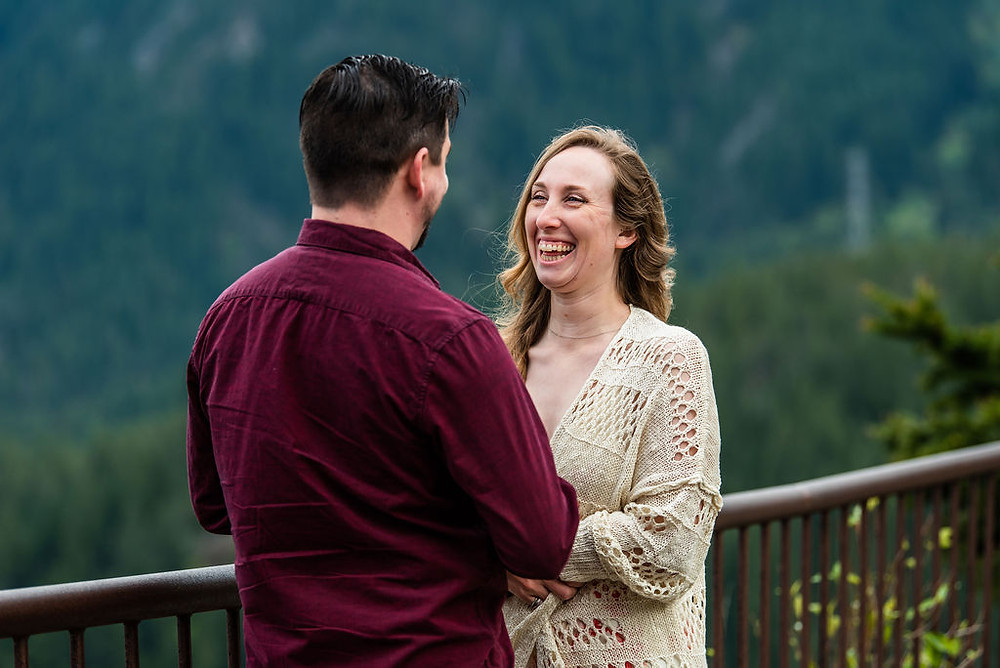 A bride laughing during the elopement ceremony in North Cascades National Park