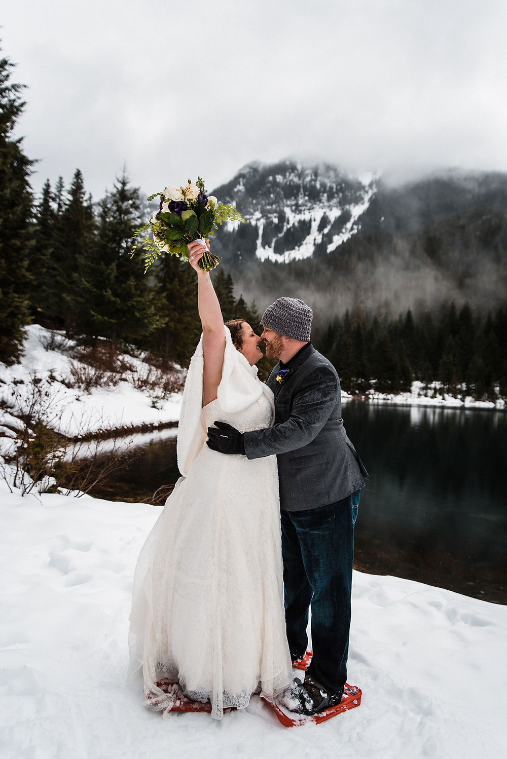 A couple on their Washington elopement day at Gold Creek Pond