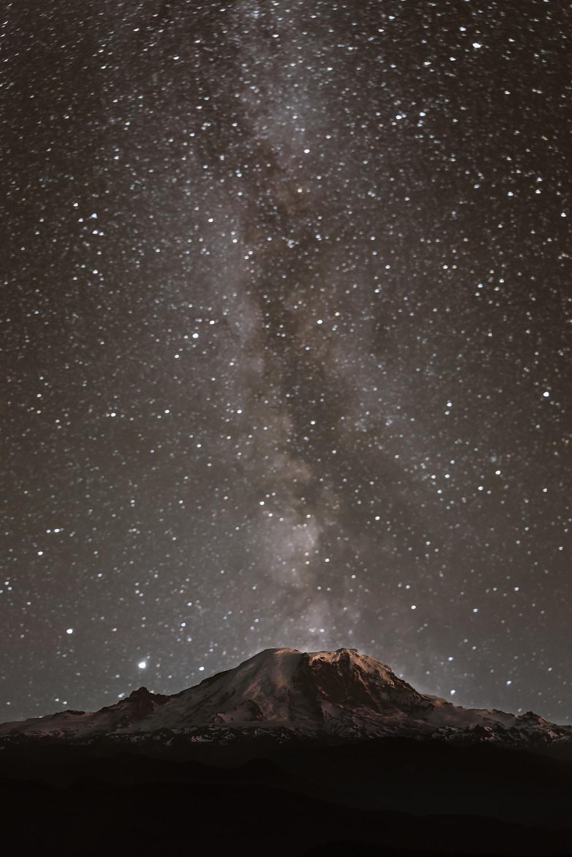 Milky Way over Mount Rainier in Washington