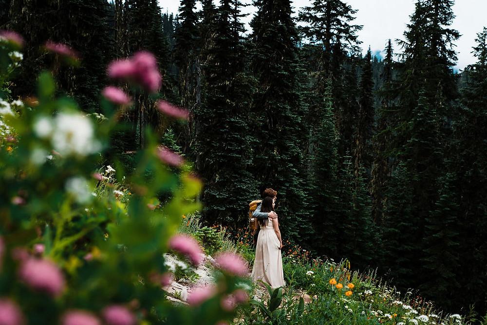 Wildflowers at Mount Rainier during an adventure elopement