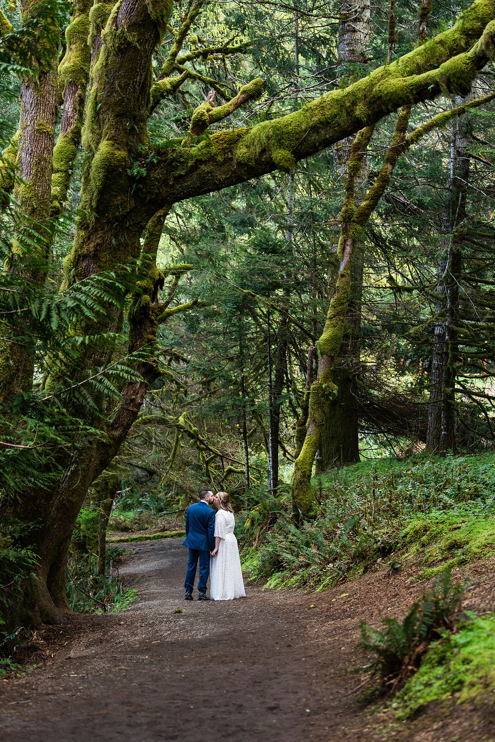 A couple sharing a kiss under a rainforest canopy in Olympic National Park on their elopement day in Washington