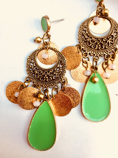 green bohemian earrings